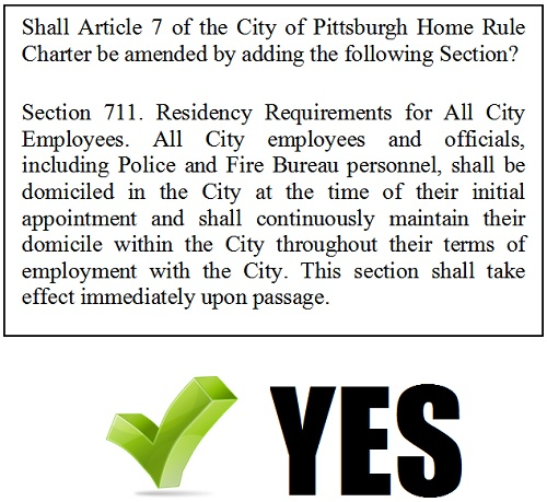 Shall Article 7 of the City of Pittsburgh Home Rule Charter be amended by adding the following Section? 'Section 711. Residency Requirements for All City Employees. All City employees and officials, including Police and Fire Bureau personnel, shall be domiciled in the City at the time of their initial appointment and shall continuously maintain their domicile within the City throughout their terms of employment with the City. This section shall take effect immediately upon passage. ' VOTE YES